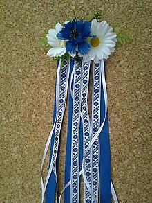 Ozdoby do vlasov - folklórny hrebienok so stuhami, nevädzou a margarétkami 65 cm - 9831435_
