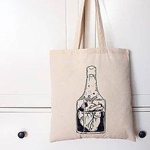 Nákupné tašky - Srdce vo fľaši - 9831457_