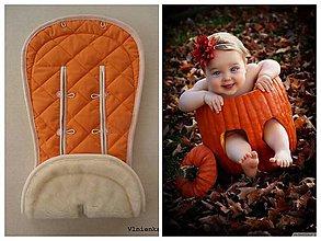 Textil - Podložka do kočíka CYBEX Priam Platinum Lux proti poteniu 100 %merino top super wash obojstranná  (Oranžová) - 9829498_