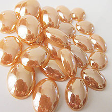 Komponenty - Sklenený perleťový kabošon / ovál 13x18mm (Zlato) - 9830817_