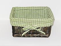 Košík z pravého prútia - zelený