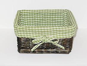 Dekorácie - Košík z pravého prútia - zelený - 9831577_