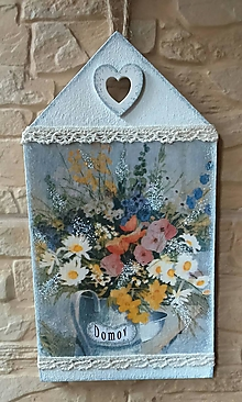 Dekorácie - Tabuľka DOMOV - zátišie s poľnými kvetmi - 9831331_