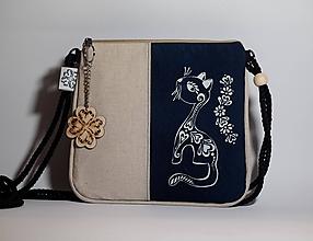 Kabelky - Mini kabelka modrotlač Mačička - 9831124_
