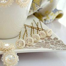 Ozdoby do vlasov - Svadobné vlásenky - kus* (Crystal - Ceylon Light Ivory korálky) - 9832390_
