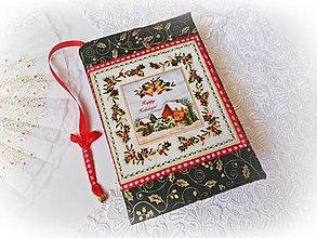 Papiernictvo - Vianočný obal na knihu s rolničkou - zelený - 9830757_