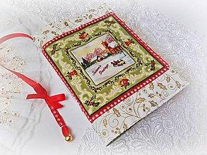 Papiernictvo - Vianočný obal na knihu s rolničkou - biely - 9830805_