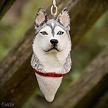 Kľúčenky - Sibírsky husky - kľúčenka podľa fotografie - 9829857_