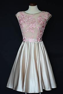 Šaty - Koktejlové šaty s tylovým vyšívaným živôtikom a kruhovou sukňou rôzne farby - 9830000_