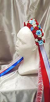 Folklórna kvetinová parta pre nevestu so stuhami - na redový