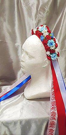 Ozdoby do vlasov - Folklórna kvetinová parta pre nevestu so stuhami - na redový - 9829974_