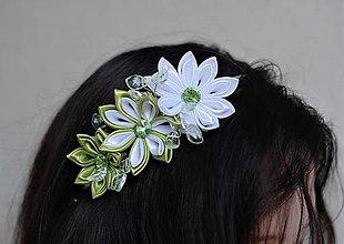 Ozdoby do vlasov - Bílo-zelená čelenka - 9832391_