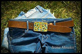 Opasky - Mozaiková pracka s opaskom žlto- pestrofarebná - 9830503_