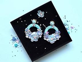 Náušnice - Modré hoop earrings - 9831887_