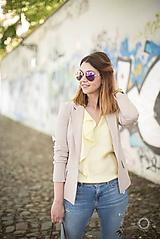 Kabáty - Krátke sako svetlo béžovej farby - 9829198_