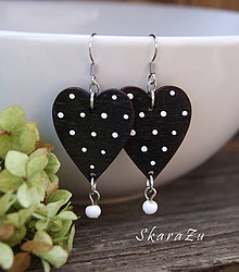 Náušnice - Heart dots // Black - 9829492_