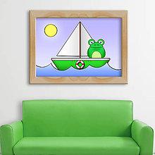Detské doplnky - Žabka na loďke - digitálna grafika - žabiak - 9829405_
