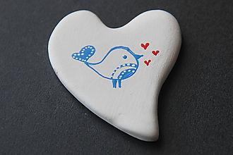 Magnetky - Magnetka - vtáčik v srdci FOLK - 9834452_