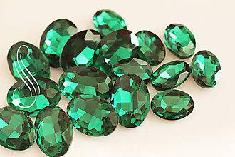 Komponenty - kabošon sklenený oval zelený 13x18/1ks - 9834664_