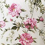 Textil - ružové pivónie; dekoračná bavlna Nemecko, šírka 140 cm, cena za 0,5 m - 9832692_