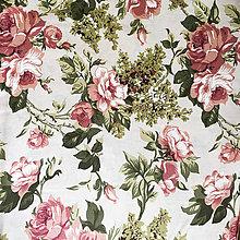 Textil - ruže na smotanovom podklade; 100 % bavlna Nemecko, šírka 140 cm, cena za 0,5 m - 9833172_