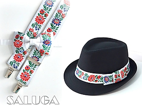 Doplnky - Set - pánsky klobúk, folklórny motýlik a traky - biely - 9833886_