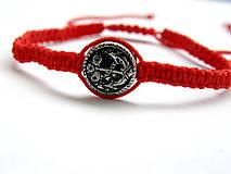 Náramky - minca kotva shamballa cervena - 9833665_
