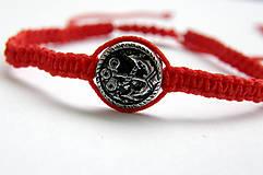 Náramky - minca kotva shamballa cervena - 9833668_