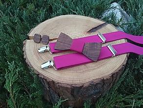 Doplnky - Pánsky set - drevený motýlik, manžetové gombíky a - 9833288_