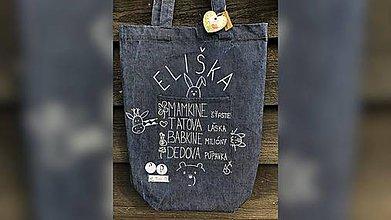 Nákupné tašky - ♥ Rifľová, ručne maľovaná taška s vreckom ♥ - 9834138_