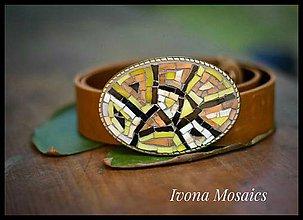 Opasky - Mozaiková pracka s opaskom hnedo-žltá - 9832742_