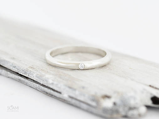 Prstene - 925/1000 Strieborný prsteň zásnubný s prírodným diamantom - 9836498_