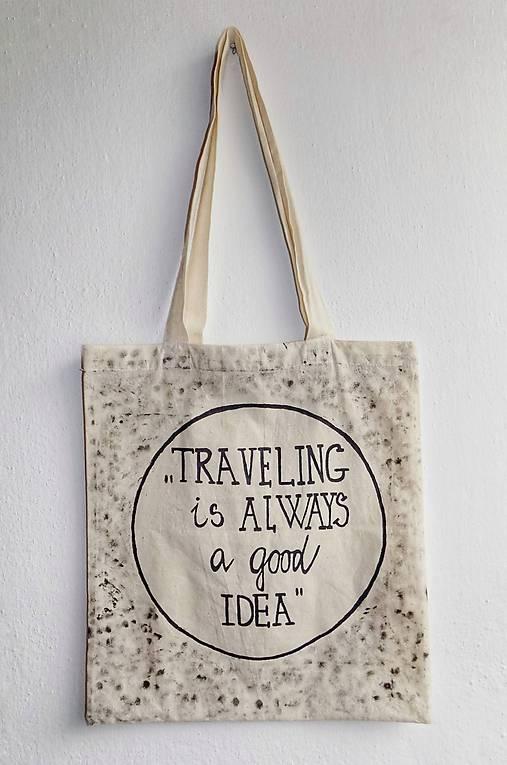 8c3a38173 Plátená taška- Traveling / Langart - SAShE.sk - Handmade Nákupné tašky