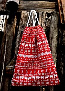 Batohy - vrecko na chrbát - čičmany červená - 9837462_