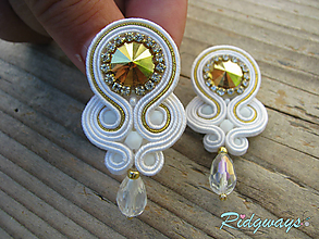 Náušnice - Simple teardrop...soutache (White/Crystal Metallic Sunshine) - 9836050_