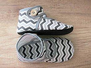 Topánočky - Detské papučky, capačky s koženou podrážkou (Šedá) - 9838714_