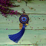 Kľúčenky - Blue Mandala - vyšívaný střapec na kabelku - 9837691_