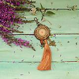 Kľúčenky - Ocher Mandala - vyšívaný střapec na kabelku - 9837698_