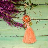 Kľúčenky - Apricot Mandala - vyšívaný střapec na kabelku - 9837704_