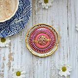 Odznaky/Brošne - Pink Gentian - vyšívaná brož - 9837869_