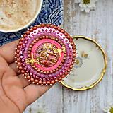 Odznaky/Brošne - Pink Gentian - vyšívaná brož - 9837870_