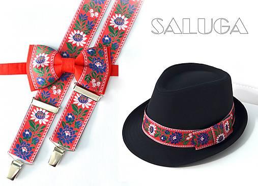 Set - pánsky klobúk, folklórny motýlik a traky - červený