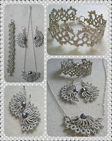Sady šperkov - Sada sivo-strieborných frivolitiek - 9836151_