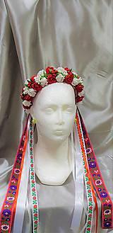 Červeno - biela folková kvetinová parta so stuhami