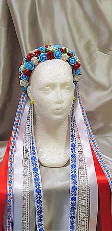 Ozdoby do vlasov - Folková kvetinová parta so stuhami na čepčenie - 9836832_