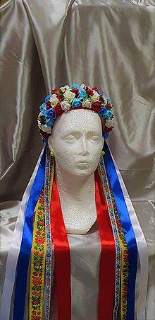 Ozdoby do vlasov - Folková kvetinová parta so stuhami na čepčenie - 9836845_