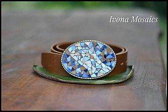 Opasky - Mozaiková pracka s opaskom modro-hnedá oválna - 9837335_
