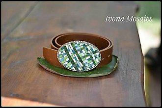 Opasky - Mozaiková pracka s opaskom zeleno-biela - 9837358_