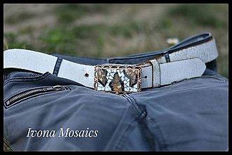 Opasky - Mozaiková pracka s opaskom  bielo-čierno-hnedá - 9837396_