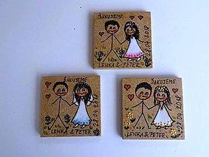 Darčeky pre svadobčanov - Svadobné magnetky - 9840579_